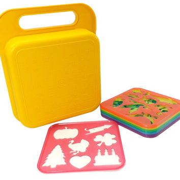 Tupperware Tuppertoys Stencil Set and Carrying Case, 8 Plastic Stencils, Vintage 80s Toys, Retro Kids Activities, Childrens Drawing Supplies