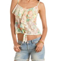 Tie-Front Floral Print Lace Tank: Charlotte Russe