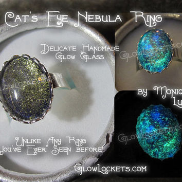 Cat's Eye Nebula Space Galaxy Constellation Glow Glass Adjustable Ring