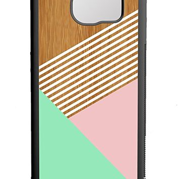 Mint Champagne Pink Striped Wood Samsung Galaxy S7 Edge Case Black