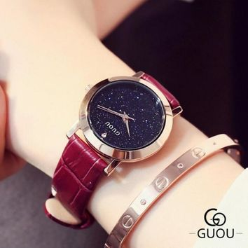 Women's Fashion Designer Face Leather Band Watch