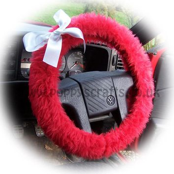 Racing red fluffy faux fur car steering wheel cover with White satin Bow