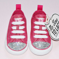 Custom Crystal Converse Low Top Raspberry Pink Shimmer Sparkle Infant Baby Girls Size 3 UK Elasticated Slip On Shoes Bling