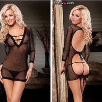 Cute Hot Deal On Sale Long Sleeve Backless Sexy Stretch Lace Sleepwear Exotic Lingerie [6595496835]