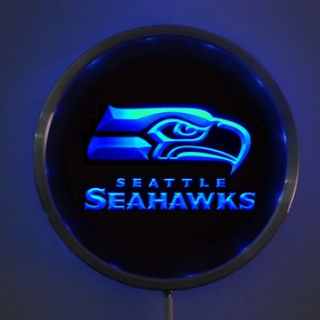 rs-b0512 Seattle Seahawks LED Neon Round Signs 25cm/ 10 Inch - Bar Sign with RGB Multi-Color Remote Wireless Control Function