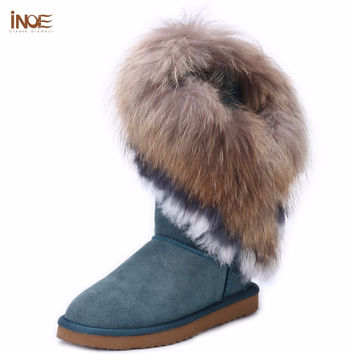 INOE Fashion edging real big rabbit fox fur girls genuine cow leather high snow boots for women winter boots tassels flats shoes
