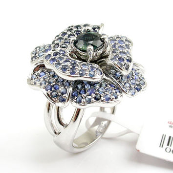 (Blue Sapphire Blossom) Intricate and Ornate Genuine Natural Blue Sapphire Ring