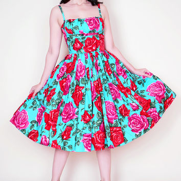 Paris Dress Turquoise Rose print