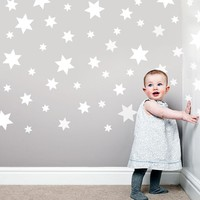 49 White Star Wall Decals Repsitional Matte Fabric Wall Stickers