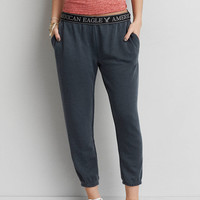 AEO Crop Tomgirl Jogger Sweatpants, Grey