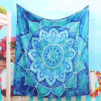 Polyester Indian Mandala Tapestry 150x130cm Wall Hanging Bohemian Bedspread Dorm Cover Throw Blanket Home Room Decor Textiles