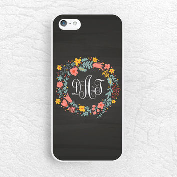 Chalkboard Monogram Name phone case for iPhone 6, Sony z1 z2 z3 compact, LG G3, Moto x Moto g, HTC one m7 m8 floral flower wreath phone case