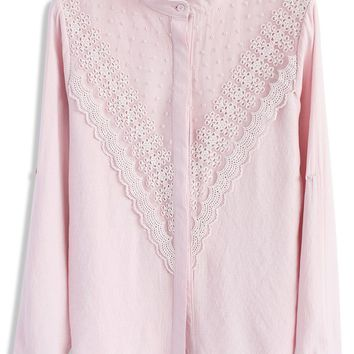 Pretty in Lace Shirt in Pink