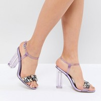 QUPID Embellished Clear Heeled Sandals at asos.com