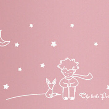 newest design Little Prince With Fox Moon Star home decor wall sticker / lovely romantic kids room decal / gift for child friend SM6