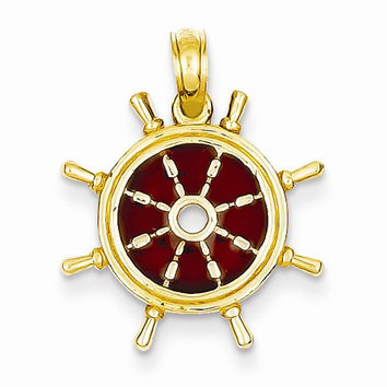 14k Gold 3-D Brown Translucent Acrylic Ship Wheel Pendant