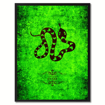 Snake Chinese Zodiac Canvas Print, Black Picture Frame Home Decor Wall Art Gift