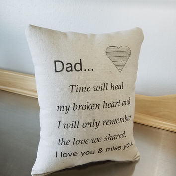 Dad sympathy gift throw pillow bereavement gift pillow loss of dad