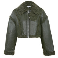 'Combat' Dark Green Vegan Shearling Jacket - Mistress Rocks