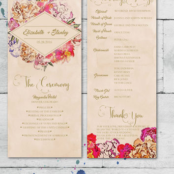 DIY Wedding Program Template Printable, Editable PDF Template, Instant Download, Digital, Elegant Painted Floral #1CM79-1