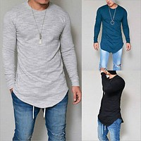 Hot Men's Casual Slim Fitness Cotton Long Sleeve Muscle Tees T-shirt Tops Blouse T Shirt Clothes Clothing