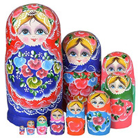 Set of 10 Blue and Red Flower Cutie Nesting Dolls Matryoshka Madness Russian Doll Wooden Wishing Dolls Toy