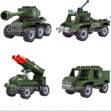 Military Legoe Army Blocks Car Tank Building Block Enlighten Sets Army Bricks Toys for Boys Girls Compatible with lepin