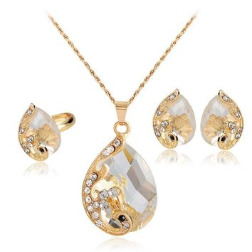 Water Droplets Gem Hollow Three-Piece Necklace Earrings Rings