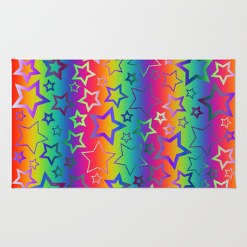 Psychedelic Rainbow Stars Area & Throw Rug by Hippy Gift Shop