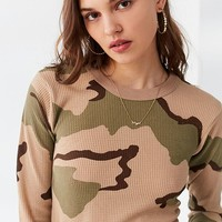 Vintage Camo Thermal Ringer Top | Urban Outfitters