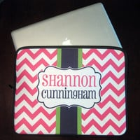 "13"" Laptop Case Personalized Monogrammed - Chevron"