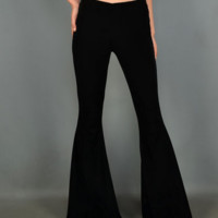 VELVET JUNIORS LOW RISE WIDE FLARE BELL BOTTOM PANTS BOHO HIPPIE-BLACK COLOR- S-M-L