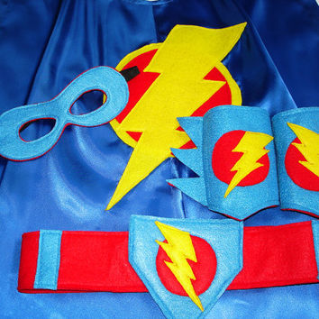 Children's Custom Superhero Lightning Bolt Cape Including Matching Mask, Belt and Wrist Cuffs