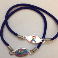 2 Autism Awareness Stretch Bracelets with a Gift Box