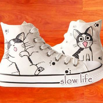Chi's-painted shoes/Converse black canvas shoes/Custom canvas shoes/Sneakers/ graffit