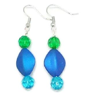Blue Diamond with Blue and Green Faceted Round Beaded Earrings