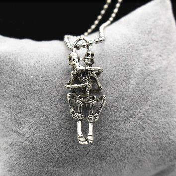 Infinity Love Couple Skulls Hug Chain  Pendant  Necklace  Silver Color Necklace For Men Women