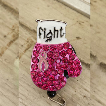 Pink Ribbon Fight Cancer Pendant Rhinestone Charm Retractable Badge Reel/ Breast Cancer ID Badge Holder