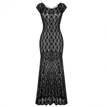 Women Fashion Cap Sleeve Slim Sexy Lace Party Package Hip Maxi Dress