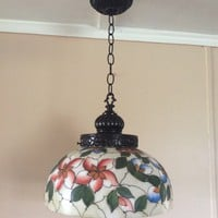 Vintage Hand Painted Glass Dome Pendant Light Mid Century Signed L & LWMC