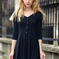 Half Sleeve V-neck High Waist Knit Pleated Mini A-line Dress with Buttons