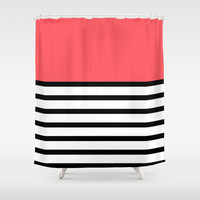 Black and White Stripe Infra Red Pattern Shower Curtain by RexLambo
