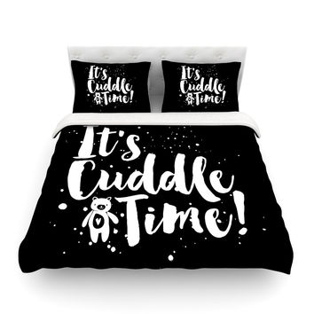 "Nick Atkinson ""Cuddle Time"" Black White Featherweight Duvet Cover"