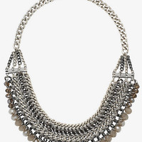 THREADED CHAIN AND FACETED BEAD NECKLACE from EXPRESS