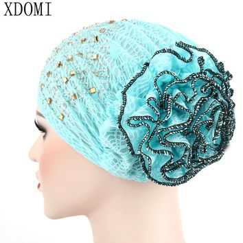 2017 New Women Muslim Stretch Turban Hat Cotton Chemo Cap Hair Loss Hairnet Scarf Wrap Cap Double color Flower Beanie Cap