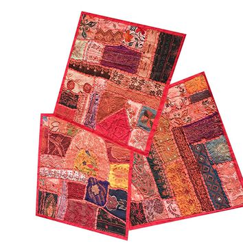 3 Ethnic Pillow Cover Sari Pillowcases Patchwork Embroidered Cushion Cover Home Decor: Amazon.ca: Home & Kitchen