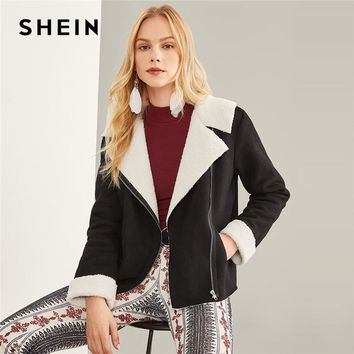 Trendy SHEIN Black Highstreet Elegant Zipper Pocket Detail Faux Shearling Fashion Jacket 2018 Autumn Workwear Women Coat And Outerwear AT_94_13