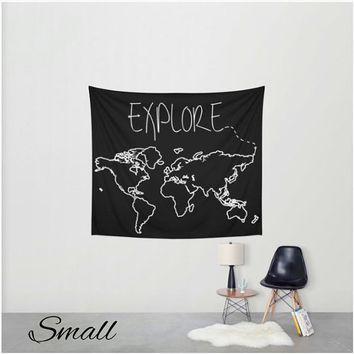 Explore Map Wall Tapestry - 2 Styles