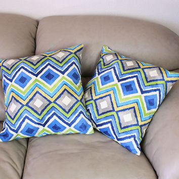 "One HGTV Decorator Throw Pillow in Like A Diamond Cotton Fabric - 18"" Covers, Green, Blue, Taupe, Gold and Ivory"