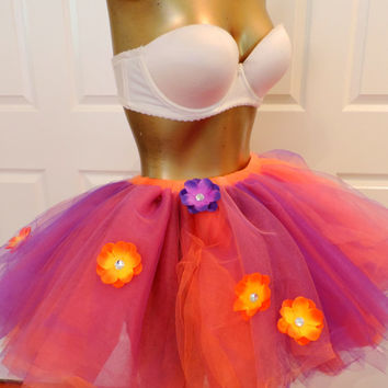 Adult tutu, halloween tutu costume. rave raver outfit, adult tutu dress, orange purple fall tutu, sexy womens costume, goth outfit